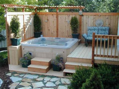 tub decking corner deck hot tub with small pergola and vertical privacy fence also outdoor chair decofurnish