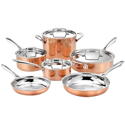 shop cuisinart  piece tri ply copper cookware set  shipping today overstock