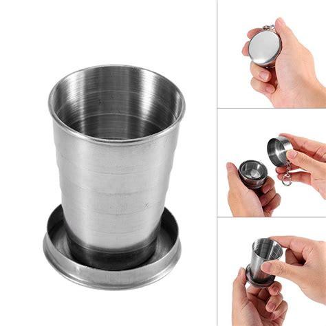 Gelas Lipat Stainless Unik gelas lipat cing stainless steel 150 ml model gantungan