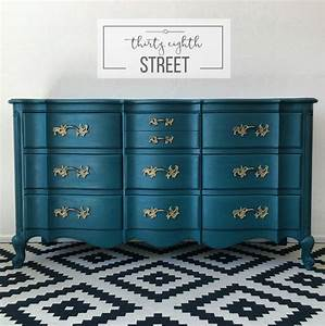 Painted Peacock Blue Dresser Makeover - Thirty Eighth Street