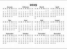 Printable 2019 Blank Calendar Templates