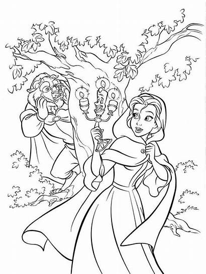 Coloring Belle Disney Beast Princess Pages Beauty