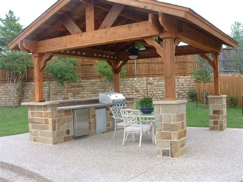 outdoor structure covered outdoor living spaces standalone shingled roof structure with kitchen ceiling fan
