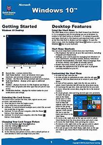 Windows 10 Quick Source Reference Guide Software Computer