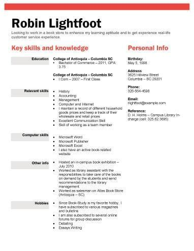 Resume Template For Students by Book Or Retail Store Position Resume Template Recipes