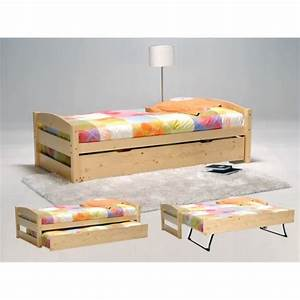 Lit Gigogne 2 Places : lit gigogne thomas 90x190 finition vernis naturel achat ~ Preciouscoupons.com Idées de Décoration