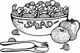 Salad Fruit Clipart Printable Coloring sketch template