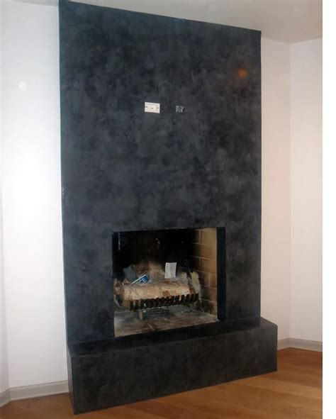 Handtroweled Black Venetian Plaster Fireplace With