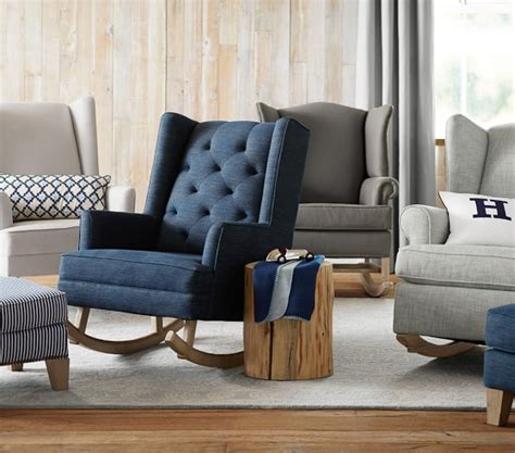 Wingback Rocker Pottery Barn by Modern Tufted Wingback Convertible Rocking Chair Ottoman