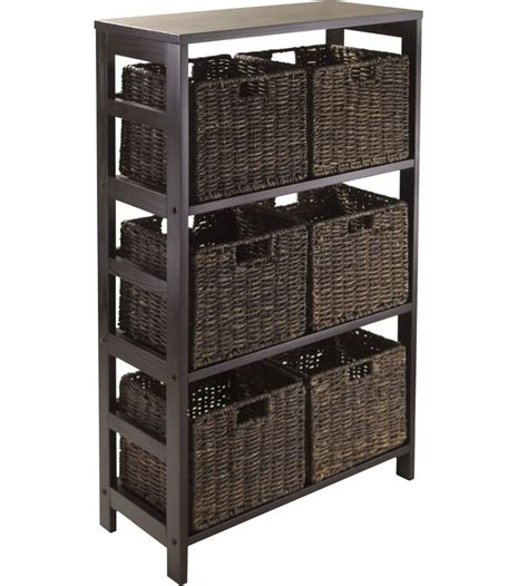 storage shelf with baskets granville storage shelf with 6 foldable baskets by winsome