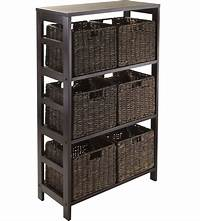 storage with baskets Granville Storage Shelf with 6 Foldable Baskets by Winsome in Shelves with Baskets
