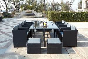 Resine Salon De Jardin : table de jardin r sine tress e encastrable noire 12 places ~ Dailycaller-alerts.com Idées de Décoration