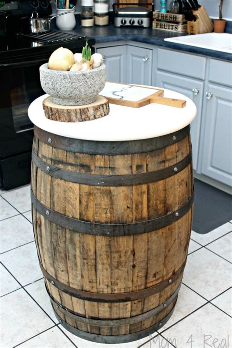 Whiskey Barrel Table  Mom 4 Real
