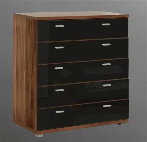 Black Wide Chest Of Drawers by Valencia Wide Chest Of Drawers Dresser Black Gloss Ebay