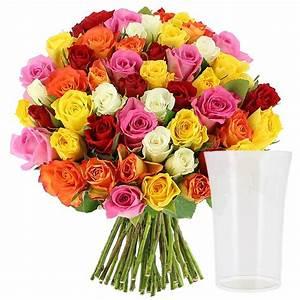Bouquet Pas Cher : livraison roses multicolores vase offert 30 roses bouquet de roses foliflora ~ Melissatoandfro.com Idées de Décoration