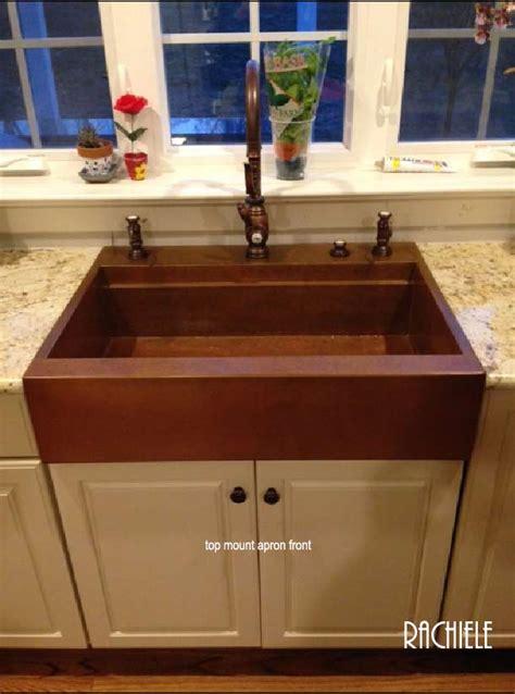 retrofit copper apron farmhouse sinks top mount or under
