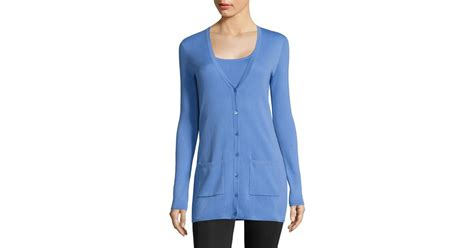 Michael Kors Long Cashmere Cardigan In Blue