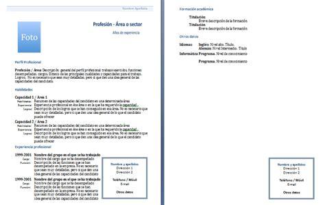 curriculum vitae 2 hojas modelo de curriculum vitae