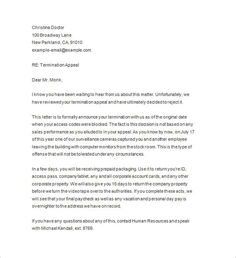 sample  termination letter  employee  notice