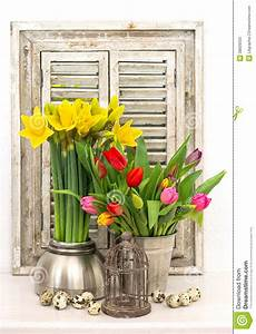 Home Decoration With Spring Flowers, Easter Eggs Stock