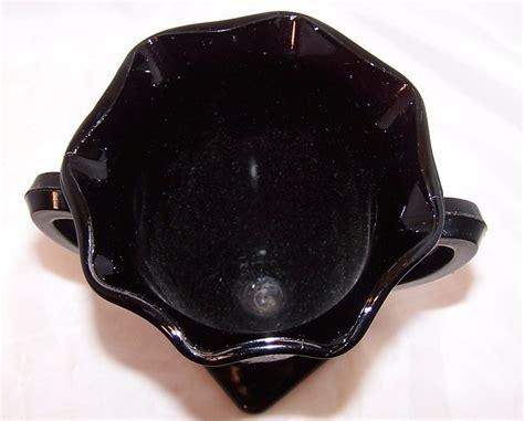 Black Amethyst Glass Loving Cup Vase with Design, Vintage