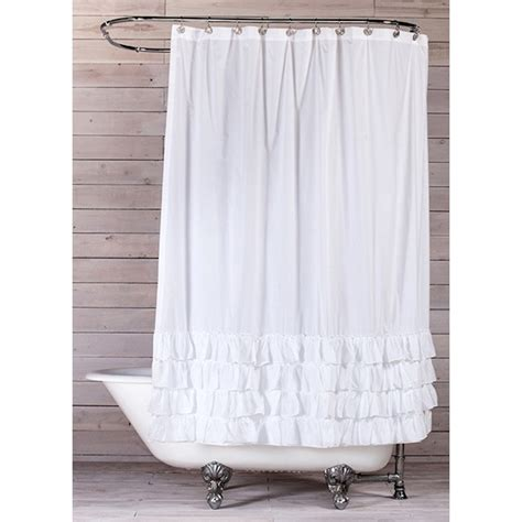 white shower curtains white cotton shower curtain ruffle o curtains ideas