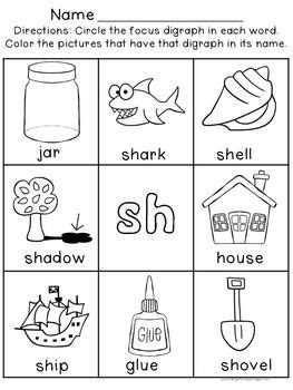 digraph worksheets sh ch th wh ph ee oo digraphs
