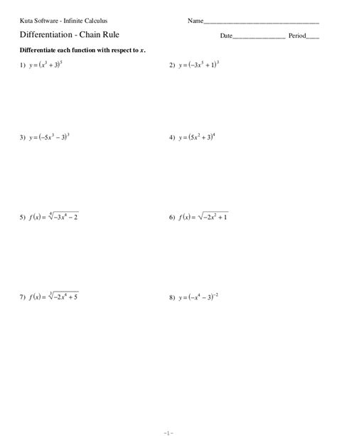 derivative worksheet
