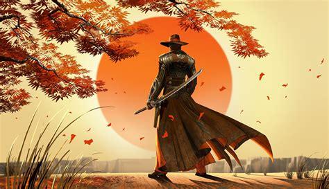Artwork, Fantasy Art, Cowboys, Samurai, Japan Wallpapers