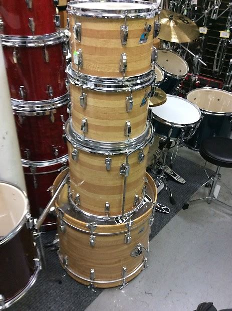 Ludwig 4 Piece Butcher Block Drum Kit 1970's 6 Ply Reverb