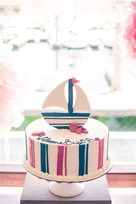 pink  blue nautical baby shower inspired