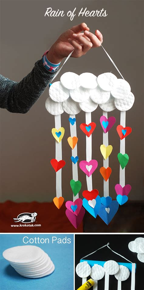 krokotak rain  hearts  cotton pads