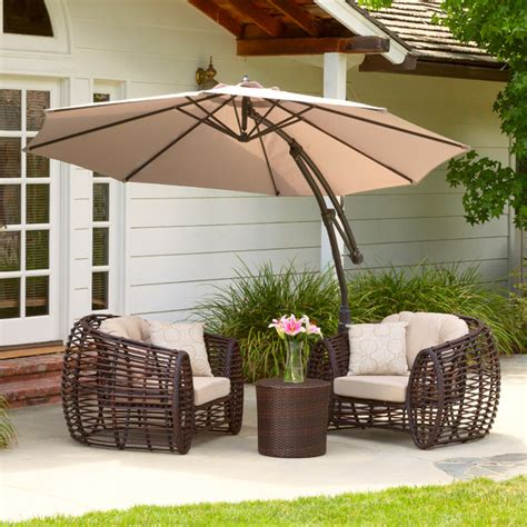 outdoor patio furniture with cantilever umbrella canopy