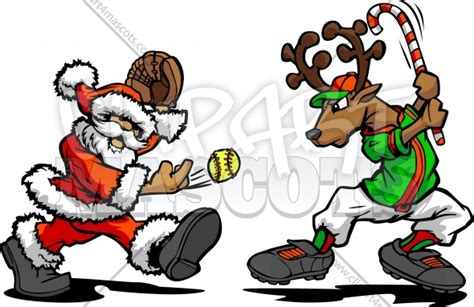 Softball Holiday Clipart Graphic Vector Christmas Clipart