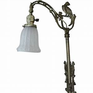 vintage cast iron bridge floor lamp griffins parrot 1920 With art deco cast iron floor lamp