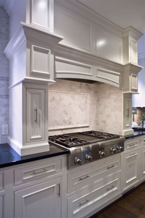 crown molding cabinets cabinetry kitchen custom elegant white painted hood pull