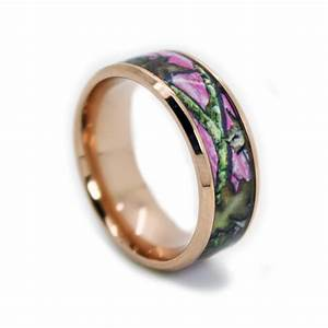 Rose gold pink band pink camo wedding rings by 1 camo for Wedding rings with pink