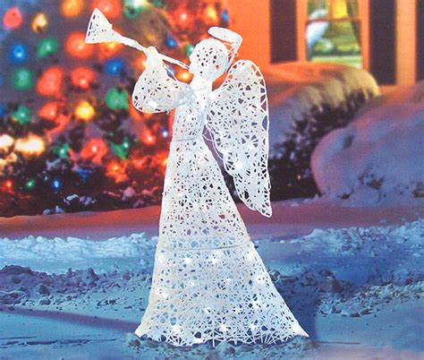 "48"" Flocked Trumpeting Angel Lighted Christmas Yard Art"