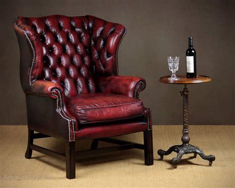 Georgian Style High Back Leather Armchair
