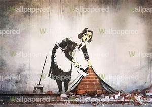 Banksy Street Maid Wall Mural   Banksy Wallpaper