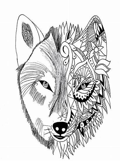 Wolf Tattoo Coloring Realistic Krissy Zentangle Tattoos