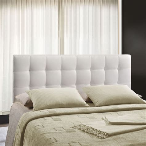 white leather headboard king upholstered headboard tufted inset button vinyl