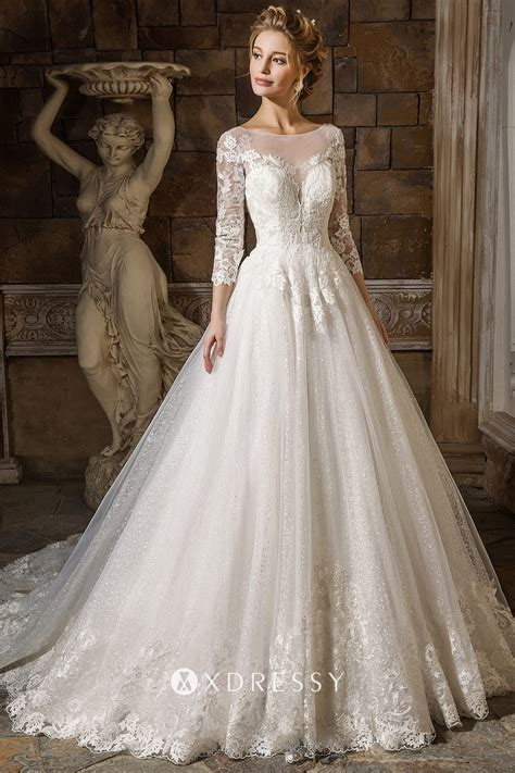 Illusion Neck 3/4 Sleeve Glitter Tulle Bridal Gown - Xdressy