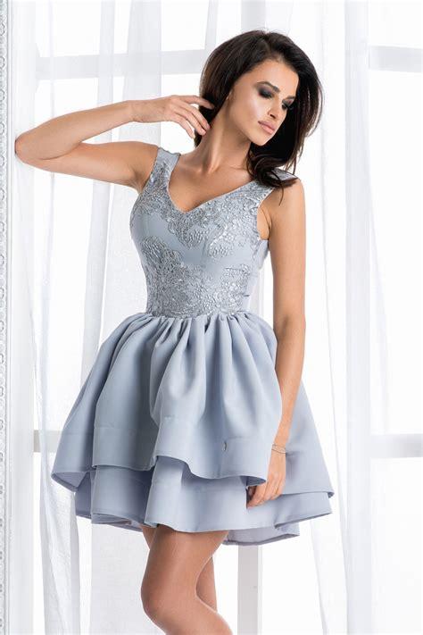 sukienka rozkloszowana szara asymetryczna sukienki w mohho pl