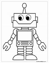 Coloring Robots Pages Robot Print Craft Tag sketch template