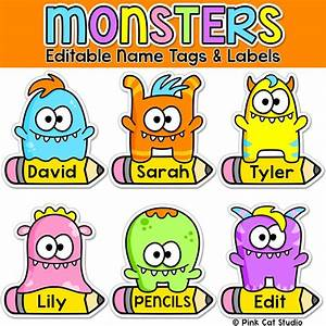 monster editable nametags locker tags and decor With locker tag templates
