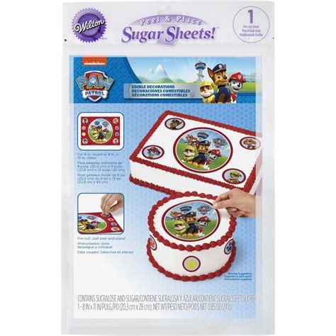 patrol paw cake wilton sugar sheets kit decorating edible decorations sprinkles