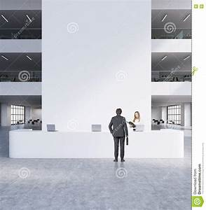 Modern Office Reception With People Stock Illustration ...