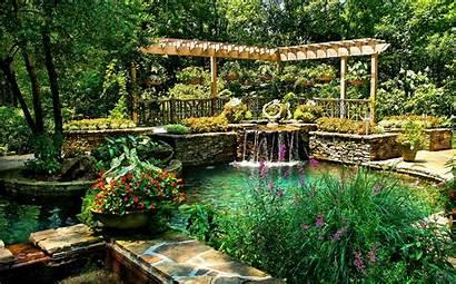 Garden Pond Waterfall Ground Park Gibbs Nature