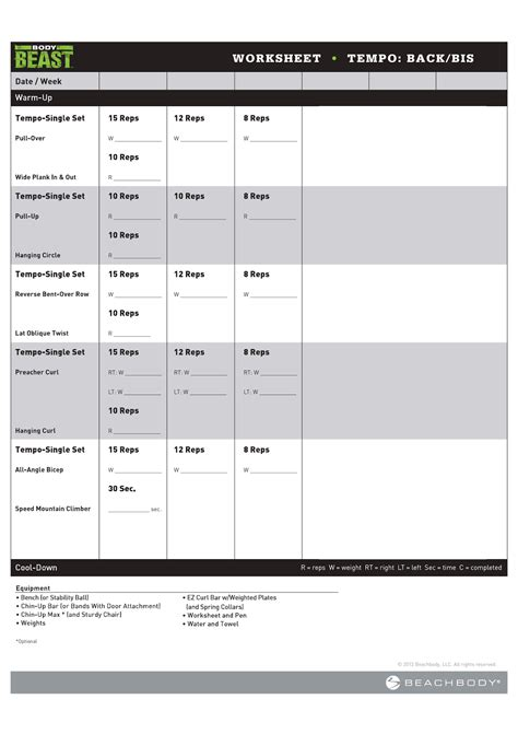 Body Beast Bulk Chest Workout Sheets Worksheets For All